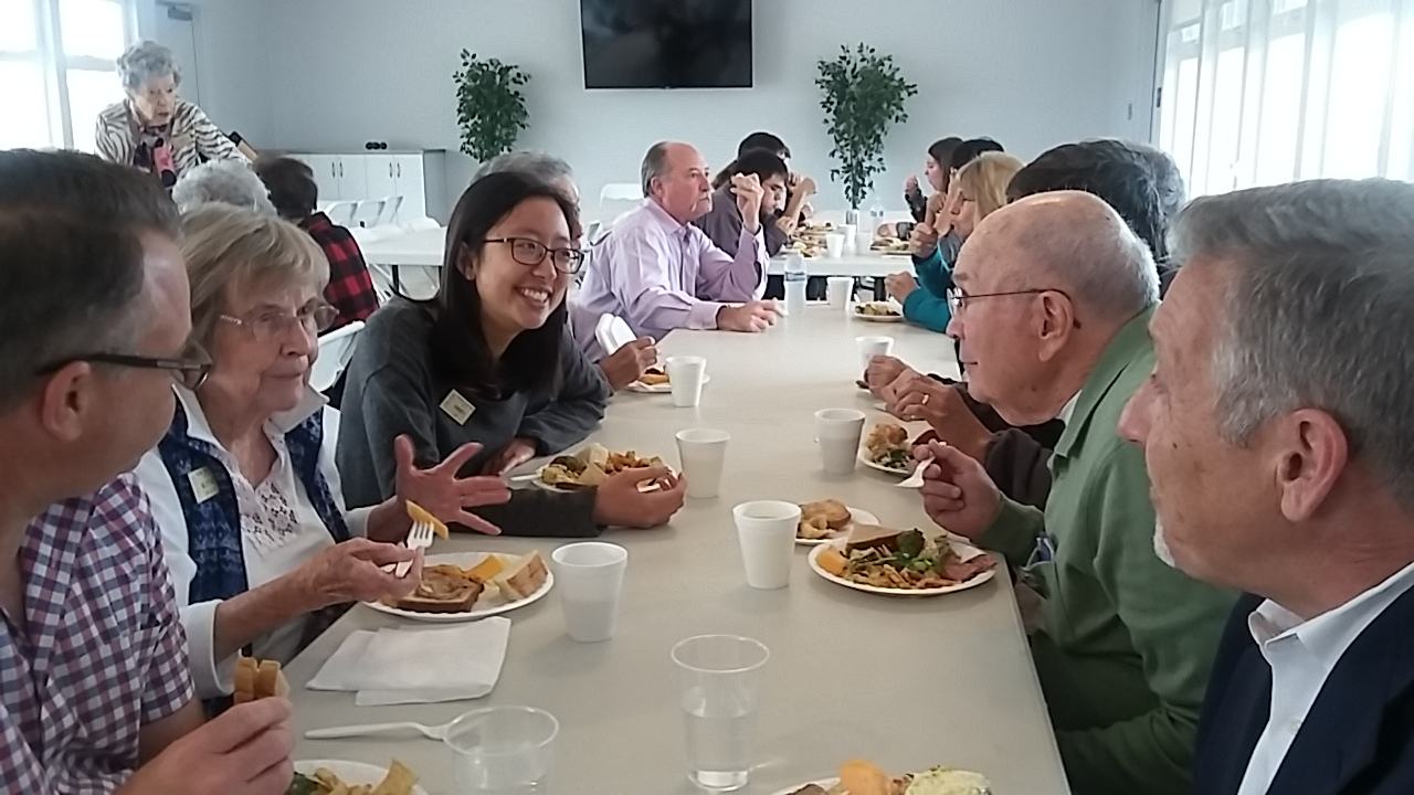 Friends enjoying Sunday fellowship lunch at POVUCC