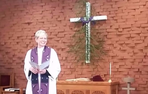 Pastor Mary Sue Brookshire during Sunday worship at POVUCC